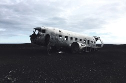 Sólheimasandur plane wreck. A 4 km walk from the 'parking lot' through a stone desert...