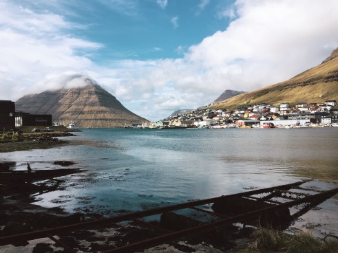 View from the Airbnb in Klaksvík, right by the water.